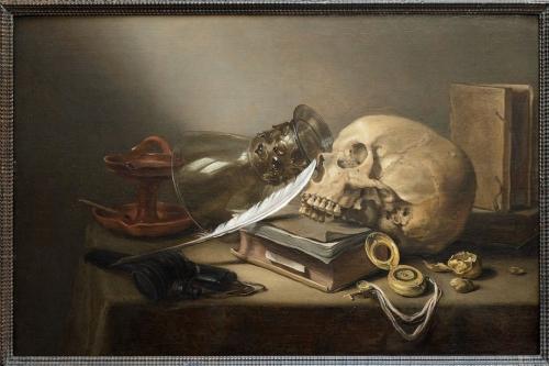 Pieter-Claesz-1597-1660.-Nature-morte-au-crâne-avec-livres-coupe-Römer-lampe-à-huile-et-plume.-Peinte-en-1645-cette-oeuvre-est-lune-des-plus-importantes-de-la-collection-Hornstein..jpg
